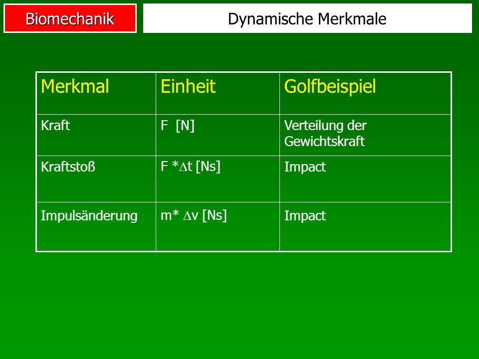 Merkmal Einheit Golfbeispiel Dynamische Merkmale Kraft F [N]